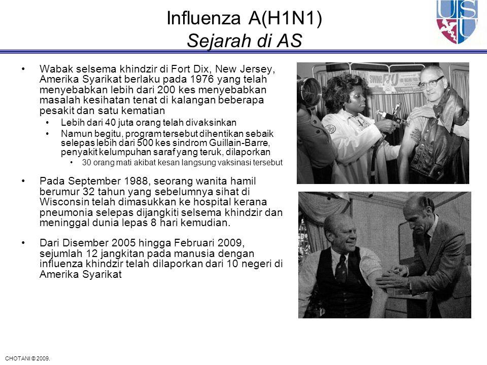 CHOTANI © 2009. Influenza A(H1N1) Sejarah di AS Wabak selsema khindzir di Fort Dix, New Jersey, Amerika Syarikat berlaku pada 1976 yang telah menyebab