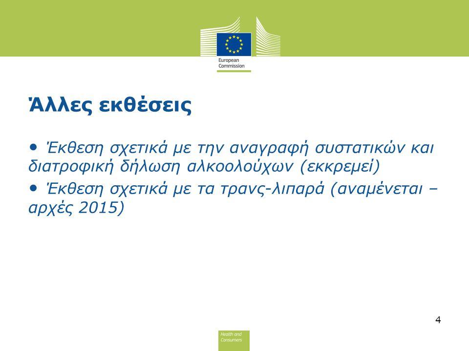 Άλλες εκθέσεις Έκθεση σχετικά με την αναγραφή συστατικών και διατροφική δήλωση αλκοολούχων (εκκρεμεί) Έκθεση σχετικά με τα τρανς-λιπαρά (αναμένεται –