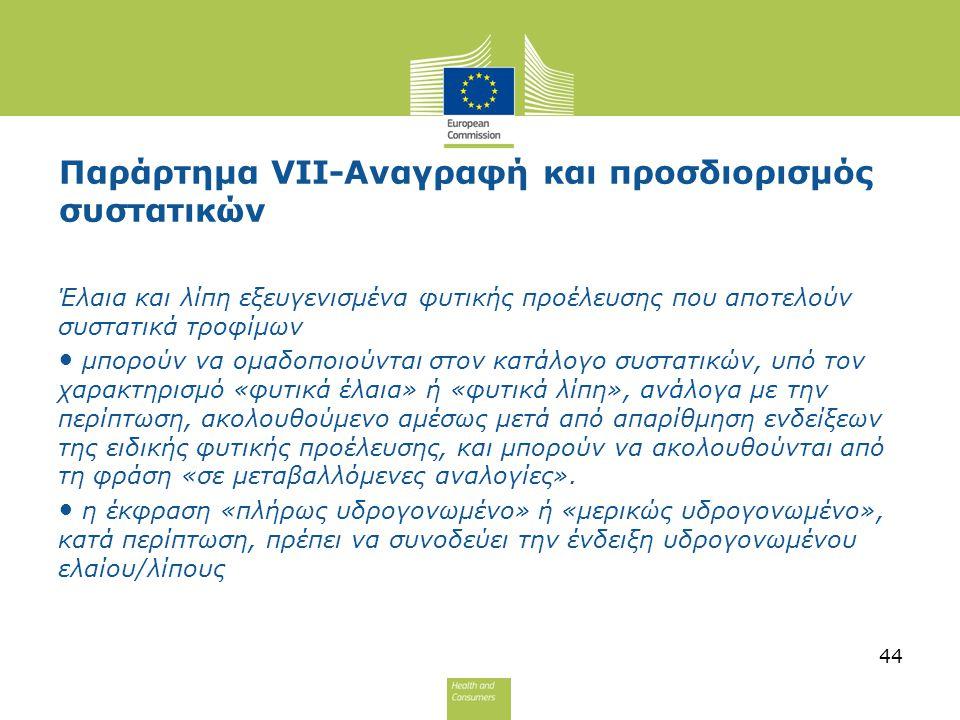 Παράρτημα VII-Αναγραφή και προσδιορισμός συστατικών Έλαια και λίπη εξευγενισμένα φυτικής προέλευσης που αποτελούν συστατικά τροφίμων μπορούν να ομαδοπ