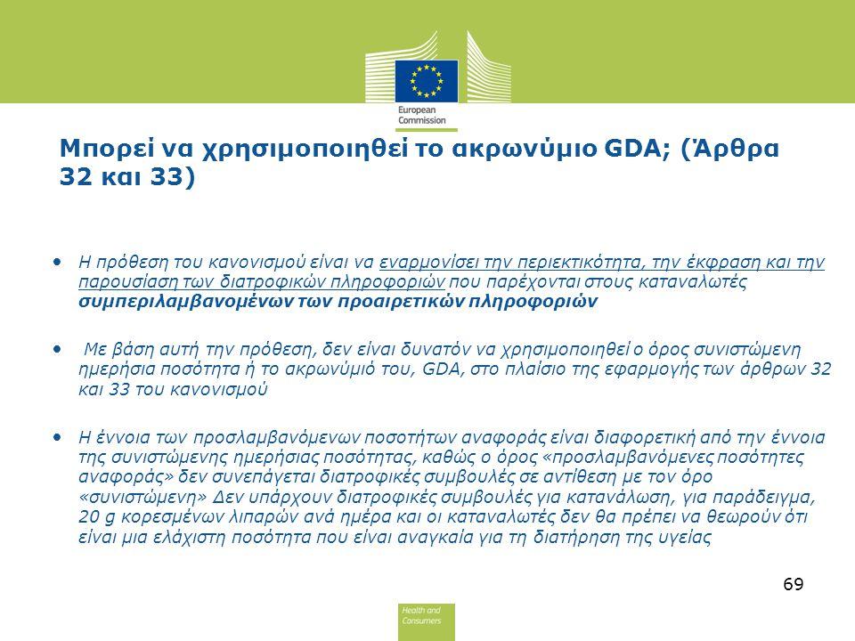 Μπορεί να χρησιμοποιηθεί το ακρωνύμιο GDA; (Άρθρα 32 και 33) Η πρόθεση του κανονισμού είναι να εναρμονίσει την περιεκτικότητα, την έκφραση και την παρ