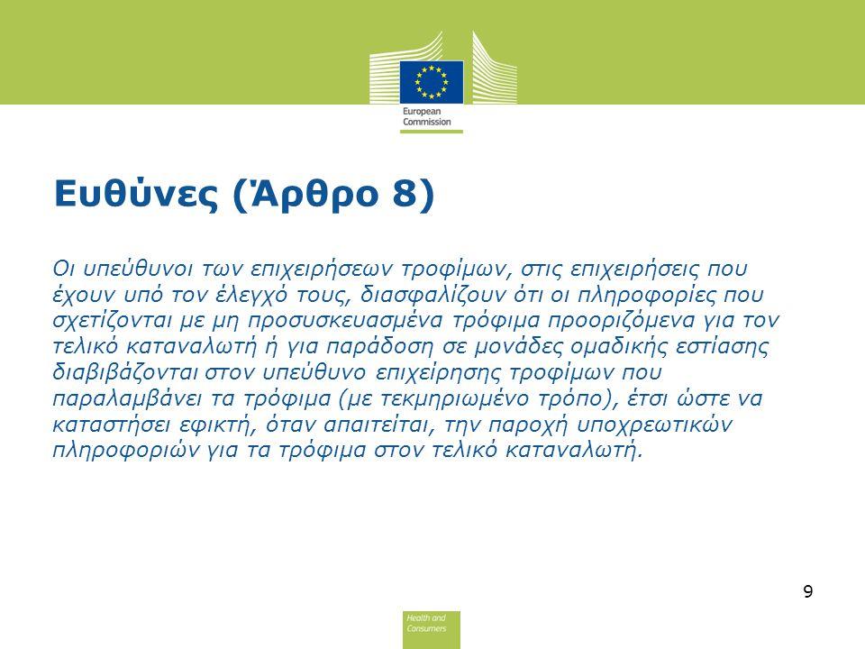 Απάντηση: Στις περιπτώσεις αυτές όσον αφορά το όνομα, η εμπορική επωνυμία μπορεί να αναγραφεί: Είτε το εμπορικό σήμα (Flora) (Boni) Είτε ο κύριος του εμπορικού σήματος (Unilever)(Colruyt) Σε κάθε περίπτωση ωστόσο η διεύθυνση η οποία θα δίνεται υπό το Άρθρο 9(1)(η) θα είναι αυτή του κυρίου του εμπορικού σήματος (Unilever) (Colruyt) ο οποίος είναι και ο υπεύθυνος παραγωγός αφού κατέχει το εμπορικό σήμα υπο το οποίο διατίθεται το προϊόν 20
