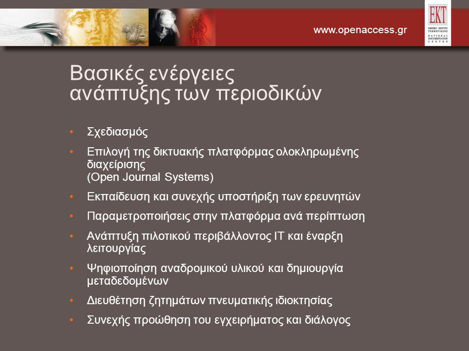 www.openaccess.gr Βασικές ενέργειες ανάπτυξης των περιοδικών Σχεδιασμός Επιλογή της δικτυακής πλατφόρμας ολοκληρωμένης διαχείρισης (Open Journal Systems) Εκπαίδευση και συνεχής υποστήριξη των ερευνητών Παραμετροποιήσεις στην πλατφόρμα ανά περίπτωση Ανάπτυξη πιλοτικού περιβάλλοντος IT και έναρξη λειτουργίας Ψηφιοποίηση αναδρομικού υλικού και δημιουργία μεταδεδομένων Διευθέτηση ζητημάτων πνευματικής ιδιοκτησίας Συνεχής προώθηση του εγχειρήματος και διάλογος