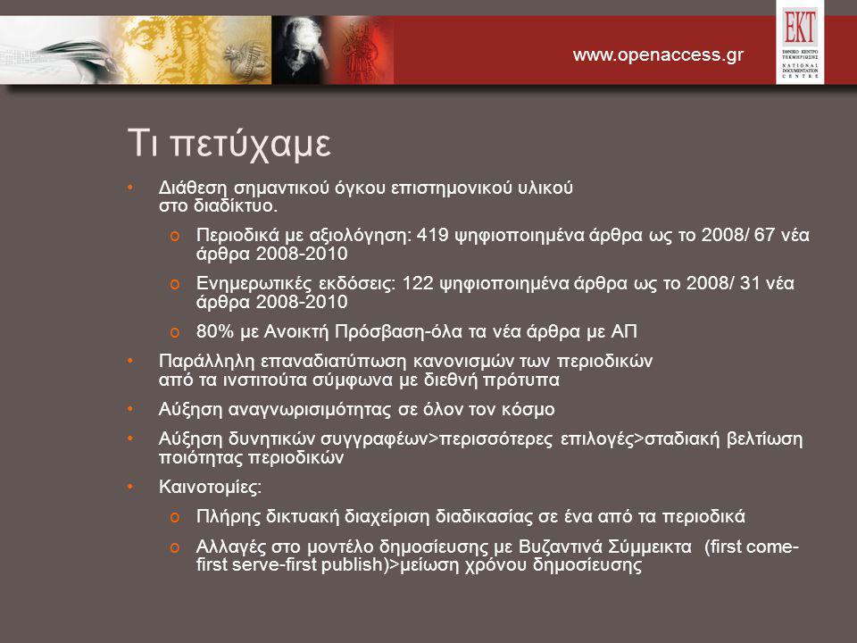 www.openaccess.gr Τι πετύχαμε Διάθεση σημαντικού όγκου επιστημονικού υλικού στο διαδίκτυο. oΠεριοδικά με αξιολόγηση: 419 ψηφιοποιημένα άρθρα ως το 200