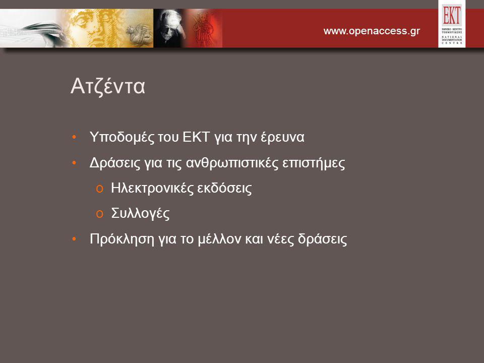 www.openaccess.gr Ατζέντα Υποδομές του ΕΚΤ για την έρευνα Δράσεις για τις ανθρωπιστικές επιστήμες oΗλεκτρονικές εκδόσεις oΣυλλογές Πρόκληση για το μέλ