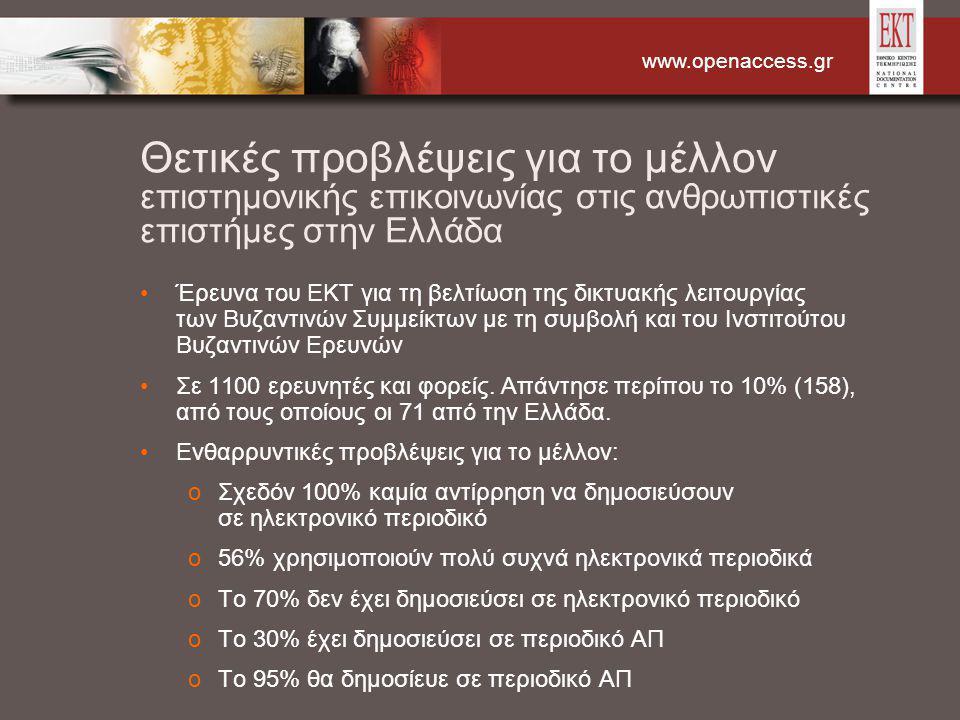 www.openaccess.gr Θετικές προβλέψεις για το μέλλον επιστημονικής επικοινωνίας στις ανθρωπιστικές επιστήμες στην Ελλάδα Έρευνα του ΕΚΤ για τη βελτίωση της δικτυακής λειτουργίας των Βυζαντινών Συμμείκτων με τη συμβολή και του Ινστιτούτου Βυζαντινών Ερευνών Σε 1100 ερευνητές και φορείς.