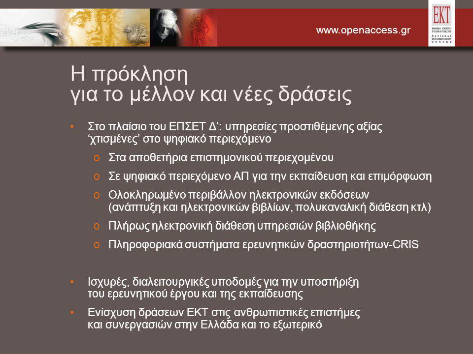 www.openaccess.gr Η πρόκληση για το μέλλον και νέες δράσεις Στο πλαίσιο του ΕΠΣΕΤ Δ': υπηρεσίες προστιθέμενης αξίας 'χτισμένες' στο ψηφιακό περιεχόμενο oΣτα αποθετήρια επιστημονικού περιεχομένου oΣε ψηφιακό περιεχόμενο ΑΠ για την εκπαίδευση και επιμόρφωση oΟλοκληρωμένο περιβάλλον ηλεκτρονικών εκδόσεων (ανάπτυξη και ηλεκτρονικών βιβλίων, πολυκαναλική διάθεση κτλ) oΠλήρως ηλεκτρονική διάθεση υπηρεσιών βιβλιοθήκης oΠληροφοριακά συστήματα ερευνητικών δραστηριοτήτων-CRIS Ισχυρές, διαλειτουργικές υποδομές για την υποστήριξη του ερευνητικού έργου και της εκπαίδευσης Ενίσχυση δράσεων ΕΚΤ στις ανθρωπιστικές επιστήμες και συνεργασιών στην Ελλάδα και το εξωτερικό