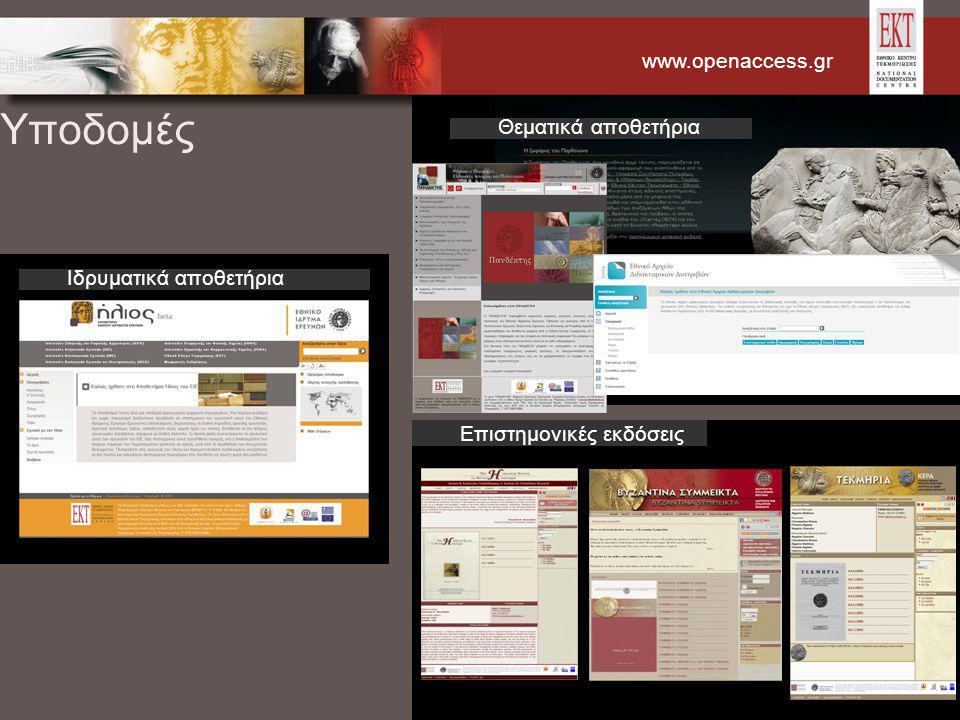 www.openaccess.gr Υποδομές Ιδρυματικά αποθετήρια Επιστημονικές εκδόσεις Θεματικά αποθετήρια