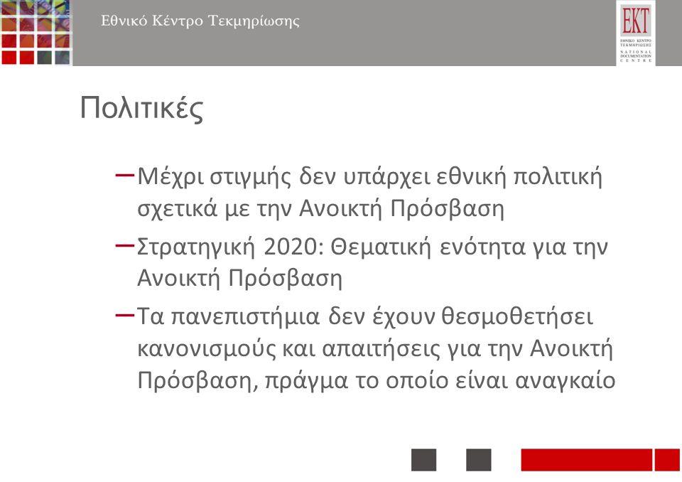 Πολιτικές – Μέχρι στιγμής δεν υπάρχει εθνική πολιτική σχετικά με την Ανοικτή Πρόσβαση – Στρατηγική 2020: Θεματική ενότητα για την Ανοικτή Πρόσβαση – Τα πανεπιστήμια δεν έχουν θεσμοθετήσει κανονισμούς και απαιτήσεις για την Ανοικτή Πρόσβαση, πράγμα το οποίο είναι αναγκαίο