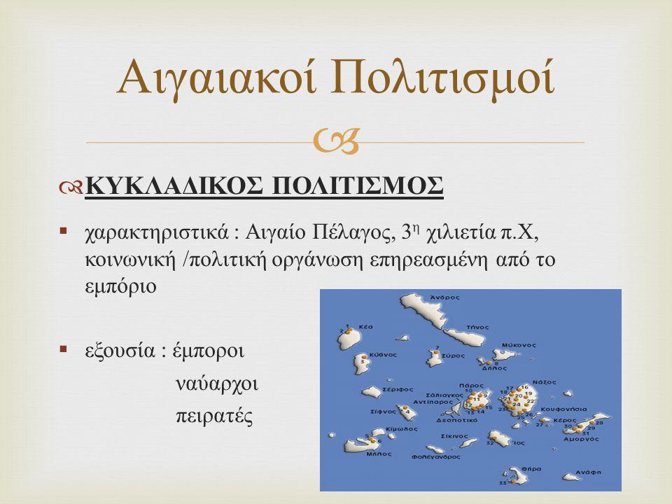   ΜΥΚΗΝΑΪΚΟΣ ΠΟΛΙΤΙΣΜΟΣ  χαρακτηριστικά : ύστερη εποχή χαλκού (1600- 1100 π.