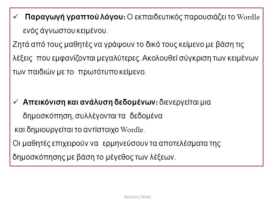  Παραγωγή γραπτού λόγου : Ο εκπαιδευτικός παρουσιάζει το Wordle ενός άγνωστου κειμένου. Ζητά από τους μαθητές να γράψουν το δικό τους κείμενο με βάση