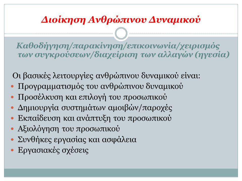 Διοίκηση Ανθρώπινου Δυναμικού Καθοδήγηση/παρακίνηση/επικοινωνία/χειρισμός των συγκρούσεων/διαχείριση των αλλαγών (ηγεσία) Οι βασικές λειτουργίες ανθρώ