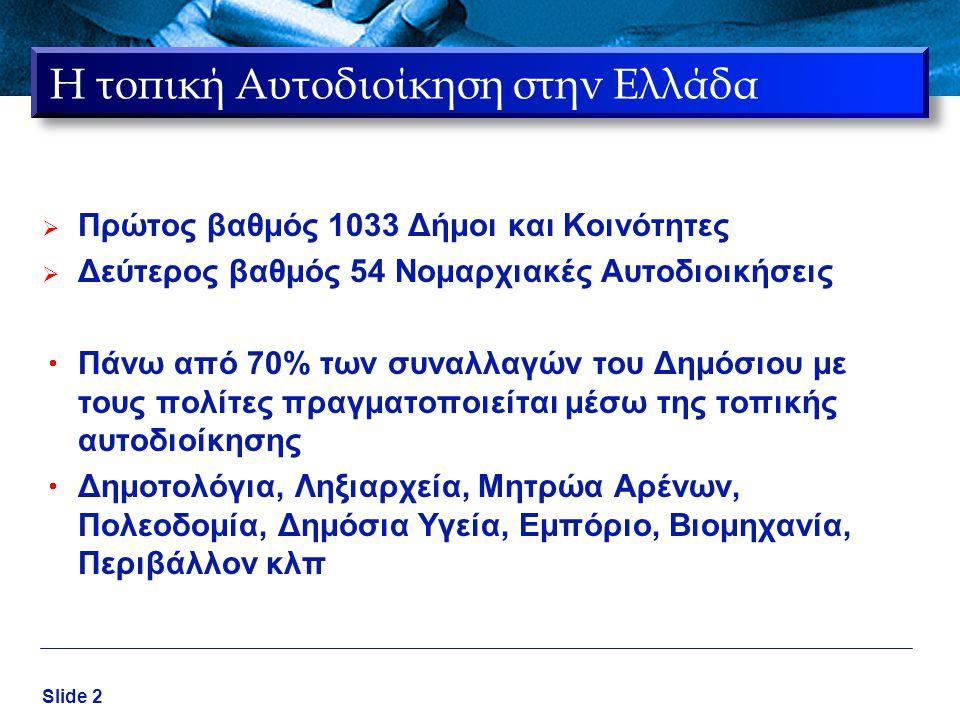 Slide 2 Η τοπική Αυτοδιοίκηση στην Ελλάδα  Πρώτος βαθμός 1033 Δήμοι και Κοινότητες  Δεύτερος βαθμός 54 Νομαρχιακές Αυτοδιοικήσεις  Πάνω από 70% των