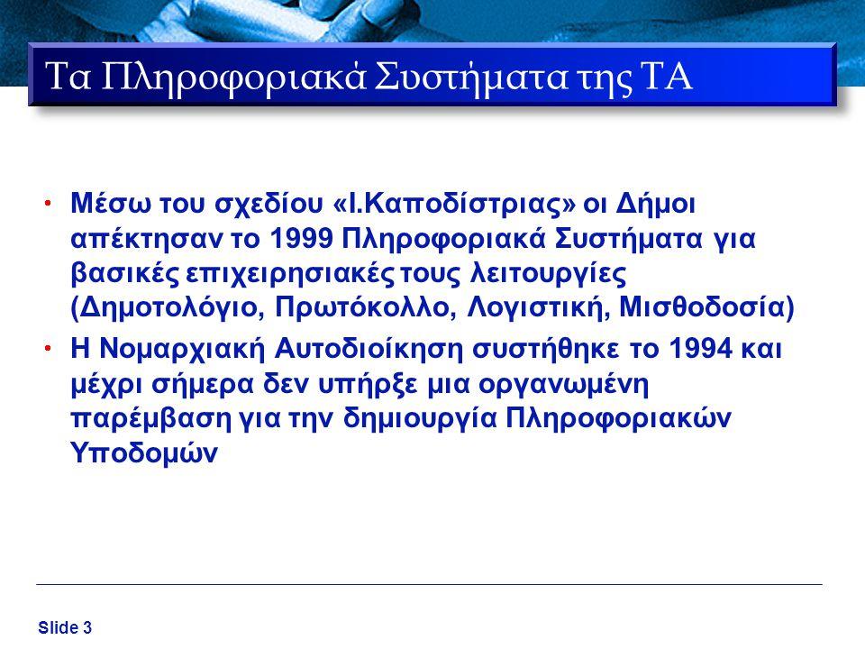 Slide 3 Τα Πληροφοριακά Συστήματα της ΤΑ  Μέσω του σχεδίου «Ι.Καποδίστριας» οι Δήμοι απέκτησαν το 1999 Πληροφοριακά Συστήματα για βασικές επιχειρησια