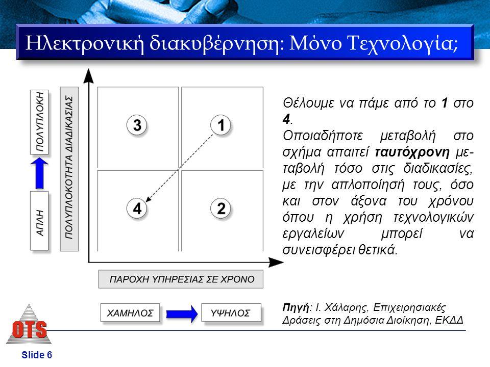 Slide 7 Τα έργα e-government έχουν κατά συνέπεια … … και επιχειρησιακή διάσταση 1.Αλλαγή νοοτροπίας από δημοσιονομική σε πελατοκεντρική 2.Ανασχεδιασμός των διαδικασιών 3.Αλλαγή στον τρόπο οργάνωσης των δημοσίων υπηρεσιών (front office και back office) 4.Αλλαγές στο νομικό καθεστώς, ώστε να νομιμοποιηθούν οι νέες πρακτικές και να εξασφαλιστεί η ασφαλής πρόσβαση στις ηλεκτρονικές υπηρεσίες.