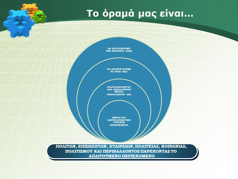Επιμέρους σκοποί της εταιρείας Η ενημέρωση και η τεχνική και συμβουλευτική υποστήριξη του κάθε Δήμου-Μετόχου, των όμορων Δήμων και εταιρειών της περιοχής Η διανομή και παροχή τεχνογνωσίας Η παραγωγή, ενημέρωση και παροχή πληροφοριών Η εκπαίδευση Η συνεργασία μεταξύ άλλων με το Δημόσιο και με εταιρείες για προώθηση προγραμμάτων και επιχειρηματικών δραστηριοτήτων όπως και αξιοποίηση και υλοποίηση διεθνών, κοινοτικών & Εθνικών χρηματοδοτικών προγραμμάτων Η δια-μεσολάβηση με εξειδικευμένους επιστημονικούς φορείς και άλλα πρόσωπα για τις τοπικές επιχειρήσεις επί τεχνολογικών και ψηφιακών θεμάτων για τον Δήμο και τις εταιρείες του κάθε Δήμου και Νομού Η δυναμική στήριξη κάθε τοπικής επιχείρησης (δημόσια και ιδιωτική) για την περεταίρω ανάπτυξη και παραγωγικότητα αυτής στους τόπους των εταίρων-μελών αλλά και σε άλλες γεωγραφικές περιοχές