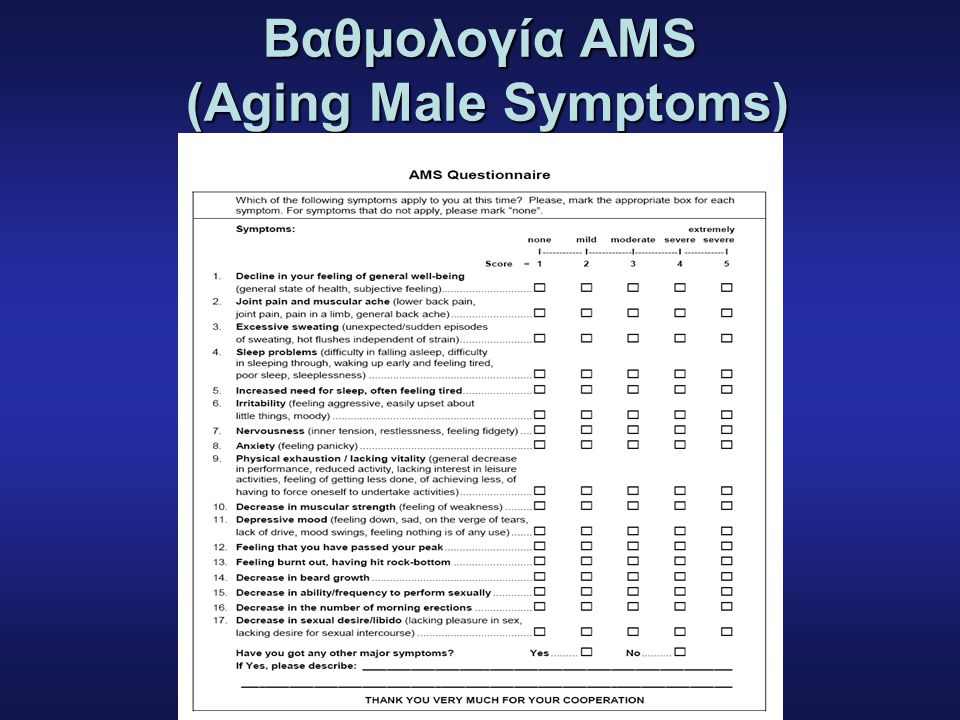 Bαθμολογία AMS (Aging Male Symptoms)