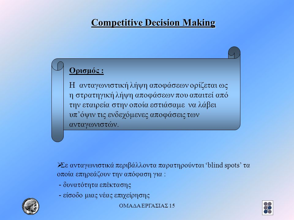 ΟΜΑΔΑ ΕΡΓΑΣΙΑΣ 15 Competitive Decision Making  Σε ανταγωνιστικά περιβάλλοντα παρατηρούνται 'blind spots' τα οποία επηρεάζουν την απόφαση για : - δυνατότητα επέκτασης - είσοδο μιας νέας επιχείρησης Ορισμός : Η ανταγωνιστική λήψη αποφάσεων ορίζεται ως η στρατηγική λήψη αποφάσεων που απαιτεί από την εταιρεία στην οποία εστιάσαμε να λάβει υπ'όψιν τις ενδεχόμενες αποφάσεις των ανταγωνιστών.