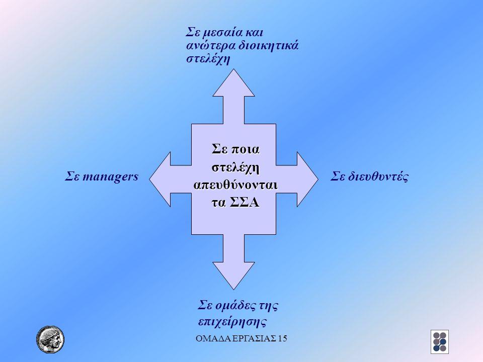 ΟΜΑΔΑ ΕΡΓΑΣΙΑΣ 15 Σε ποια στελέχη απευθύνονται τα ΣΣΑ Σε μεσαία και ανώτερα διοικητικά στελέχη Σε managersΣε διευθυντές Σε ομάδες της επιχείρησης