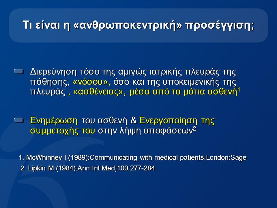 9 Τι είναι η «ανθρωποκεντρική φροντίδα»; «είναι η ιατρική φροντίδα που στοχεύει στη συνεργασία μεταξύ των ιατρών, των ασθενών και των οικογενειών τους (όποτε απαιτείται), προκειμένου να διασφαλιστεί ότι οι θεραπευτικές αποφάσεις που λαμβάνονται σέβονται τις προσδοκίες, τις ανάγκες, τις προτιμήσεις των ασθενών και επιπλέον επιδιώκει την ενεργοποίηση των ασθενών με την εκπαίδευση και την βοήθεια που χρειάζονται, προκειμένου να πάρουν αποφάσεις και να συμμετάσχουν ενεργά στην φροντίδα τους» IOM, Hurtado, M.