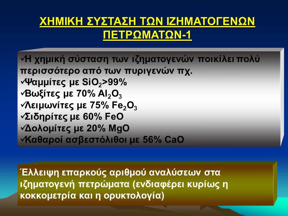 ΧΗΜΙΚΗ ΣΥΣΤΑΣΗ ΤΩΝ ΙΖΗΜΑΤΟΓΕΝΩΝ ΠΕΤΡΩΜΑΤΩΝ-1 Η χημική σύσταση των ιζηματογενών ποικίλει πολύ περισσότερο από των πυριγενών πχ. Ψαμμίτες με SiO 2 >99%