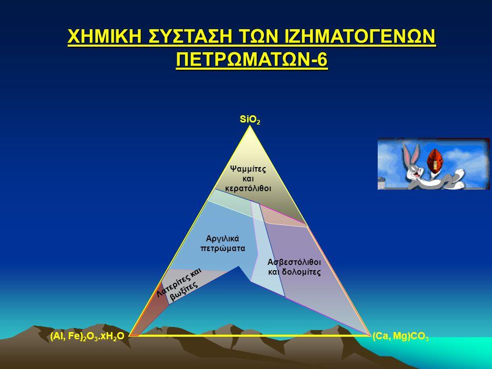 ΧΗΜΙΚΗ ΣΥΣΤΑΣΗ ΤΩΝ ΙΖΗΜΑΤΟΓΕΝΩΝ ΠΕΤΡΩΜΑΤΩΝ-6 SiO 2 (Al, Fe) 2 O 3.xH 2 O(Ca, Mg)CO 3 Ψαμμίτες και κερατόλιθοι Ασβεστόλιθοι και δολομίτες Αργιλικά πετρ