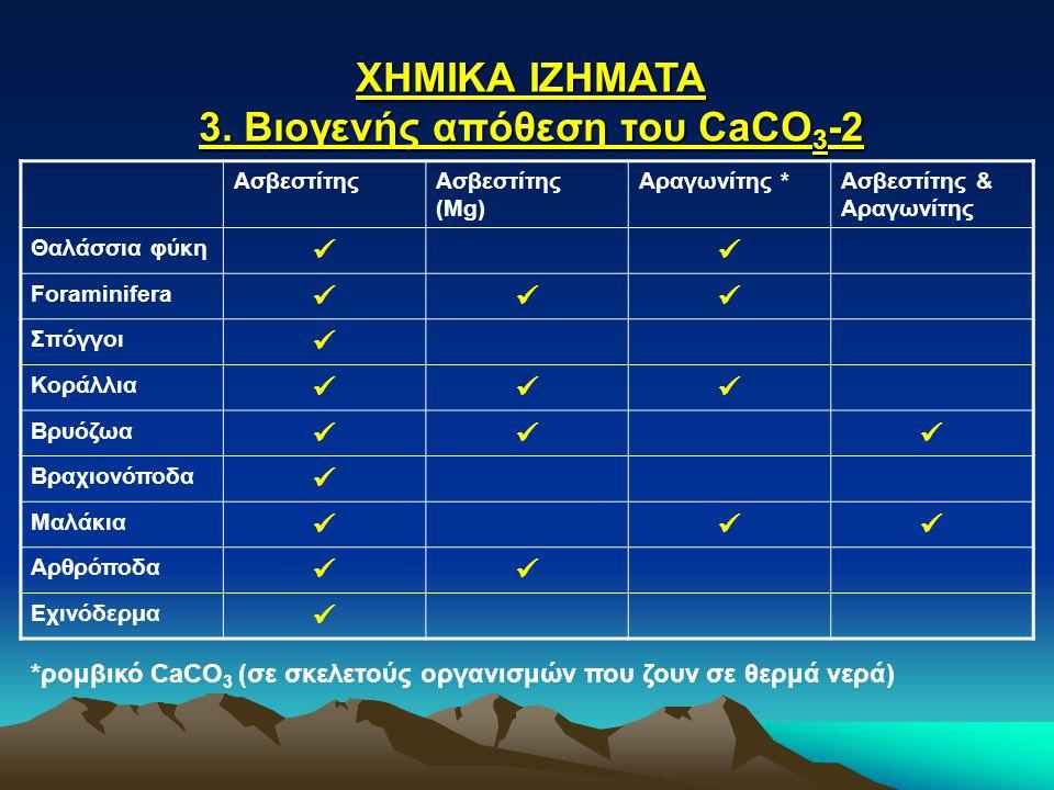 ΧΗΜΙΚΑ ΙΖΗΜΑΤΑ 3. Βιογενής απόθεση του CaCO 3 -2 ΑσβεστίτηςΑσβεστίτης (Mg) Αραγωνίτης *Ασβεστίτης & Αραγωνίτης Θαλάσσια φύκη Foraminifera Σπόγγοι Κορά