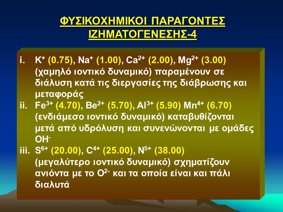 ΦΥΣΙΚΟΧΗΜΙΚΟΙ ΠΑΡΑΓΟΝΤΕΣ ΙΖΗΜΑΤΟΓΕΝΕΣΗΣ-4 i.K + (0.75), Na + (1.00), Ca 2+ (2.00), Mg 2+ (3.00) (χαμηλό ιοντικό δυναμικό) παραμένουν σε διάλυση κατά τ