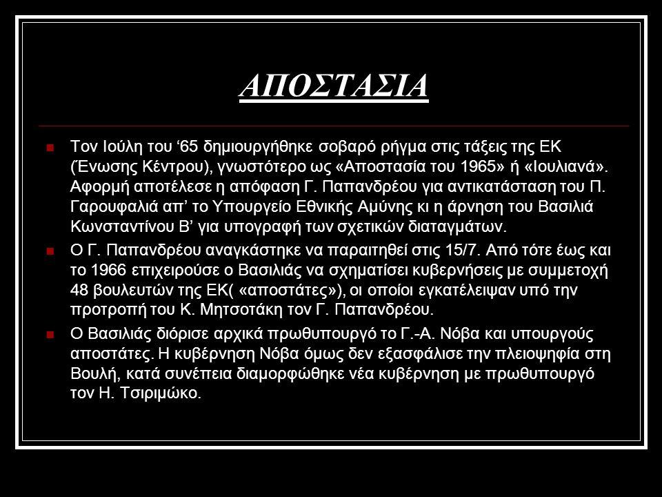 ΑΠΟΣΤΑΣΙΑ Τον Ιούλη του '65 δημιουργήθηκε σοβαρό ρήγμα στις τάξεις της ΕΚ (Ένωσης Κέντρου), γνωστότερο ως «Αποστασία του 1965» ή «Ιουλιανά». Αφορμή απ