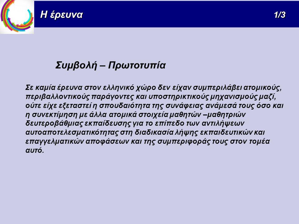 Συμβολή – Πρωτοτυπία Σε καμία έρευνα στον ελληνικό χώρο δεν είχαν συμπεριλάβει ατομικούς, περιβαλλοντικούς παράγοντες και υποστηρικτικούς μηχανισμούς μαζί, ούτε είχε εξεταστεί η σπουδαιότητα της συνάφειας ανάμεσά τους όσο και η συνεκτίμηση με άλλα ατομικά στοιχεία μαθητών –μαθητριών δευτεροβάθμιας εκπαίδευσης για το επίπεδο των αντιλήψεων αυτοαποτελεσματικότητας στη διαδικασία λήψης εκπαιδευτικών και επαγγελματικών αποφάσεων και της συμπεριφοράς τους στον τομέα αυτό.