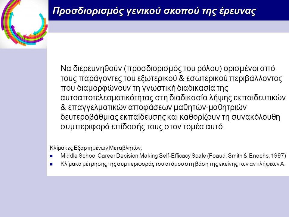 Προσδιορισμός γενικού σκοπού της έρευνας Προσδιορισμός γενικού σκοπού της έρευνας Να διερευνηθούν (προσδιορισμός του ρόλου) ορισμένοι από τους παράγοντες του εξωτερικού & εσωτερικού περιβάλλοντος που διαμορφώνουν τη γνωστική διαδικασία της αυτοαποτελεσματικότητας στη διαδικασία λήψης εκπαιδευτικών & επαγγελματικών αποφάσεων μαθητών-μαθητριών δευτεροβάθμιας εκπαίδευσης και καθορίζουν τη συνακόλουθη συμπεριφορά επίδοσής τους στον τομέα αυτό.