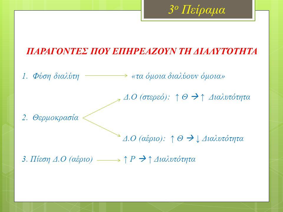 3 ο Πείραμα ΠΑΡΑΓΟΝΤΕΣ ΠΟΥ ΕΠΗΡΕΑΖΟΥΝ ΤΗ ΔΙΑΛΥΤΌΤΗΤΑ 1.Φύση διαλύτη «τα όμοια διαλύουν όμοια» Δ.Ο (στερεό): ↑ Θ  ↑ Διαλυτότητα 2.Θερμοκρασία Δ.Ο (αέριο): ↑ Θ  ↓ Διαλυτότητα 3.