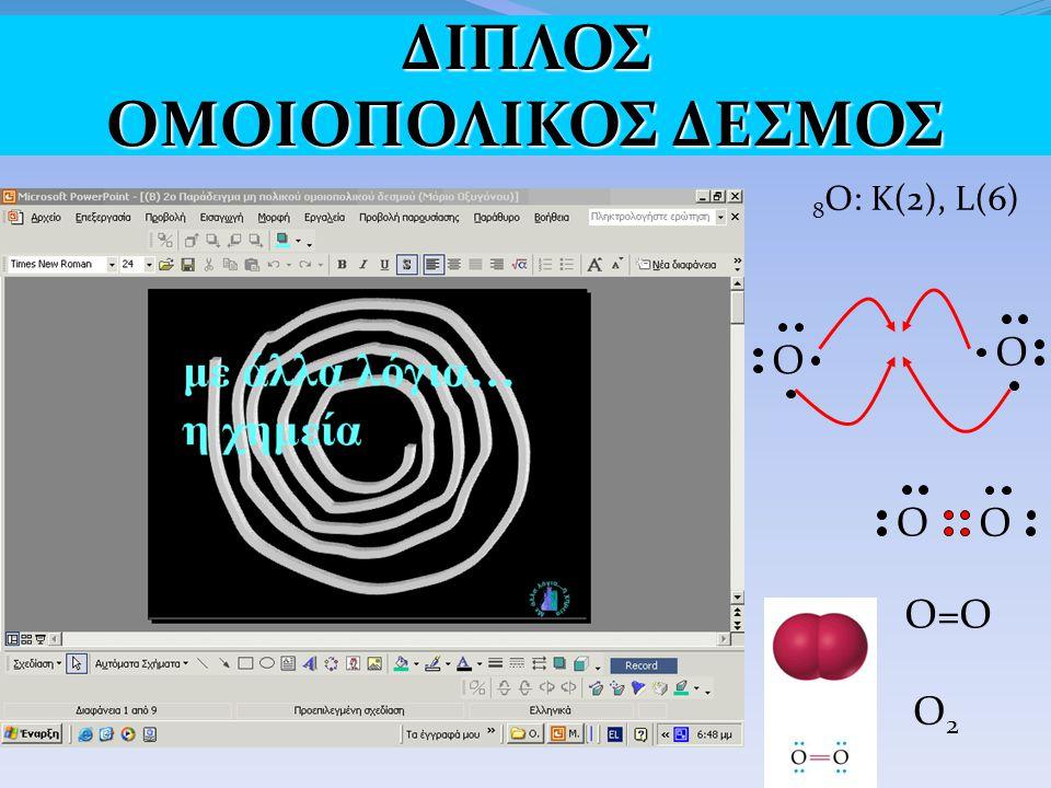 8 O: K(2), L(6) O O O O O=O O2O2 ΔΙΠΛΟΣ ΟΜΟΙΟΠΟΛΙΚΟΣ ΔΕΣΜΟΣ