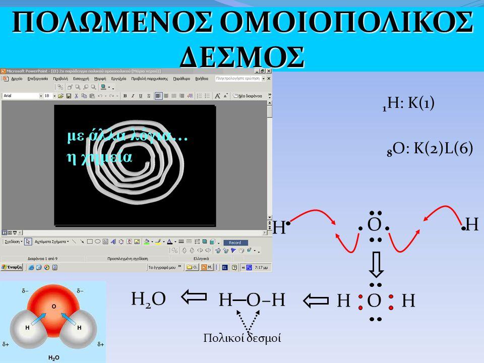1 H: Κ(1) 8 Ο: Κ(2)L(6) Η O Η O HH H─O–HH─O–H H2OH2O Πολικοί δεσμοί ΠΟΛΩΜΕΝΟΣ ΟΜΟΙΟΠΟΛΙΚΟΣ ΔΕΣΜΟΣ