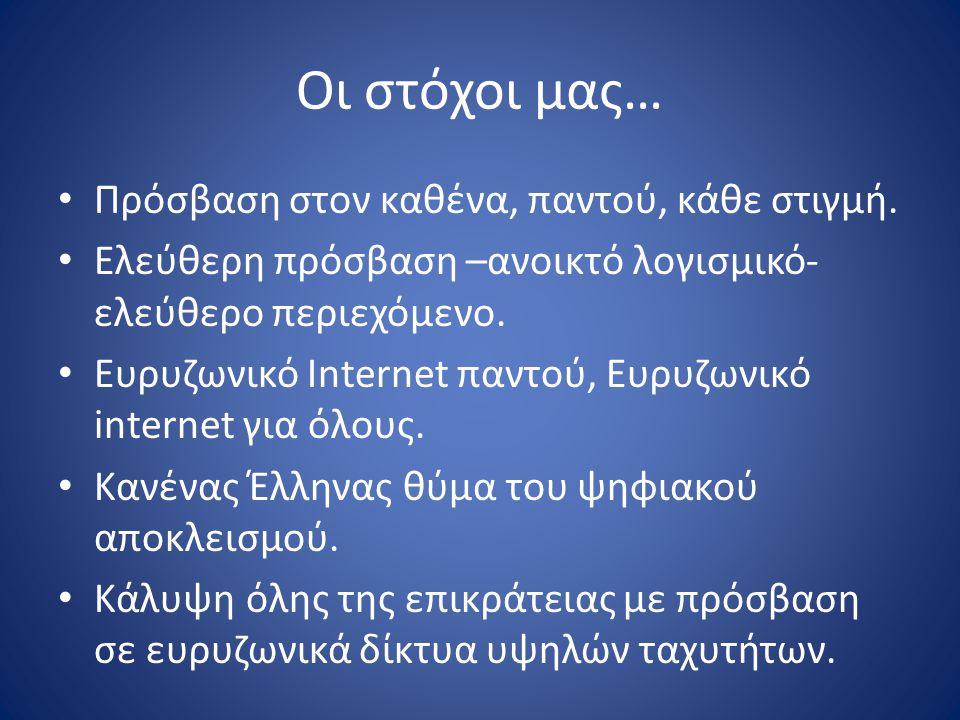 Οι στόχοι μας… Πρόσβαση στον καθένα, παντού, κάθε στιγμή. Ελεύθερη πρόσβαση –ανοικτό λογισμικό- ελεύθερο περιεχόμενο. Ευρυζωνικό Internet παντού, Ευρυ