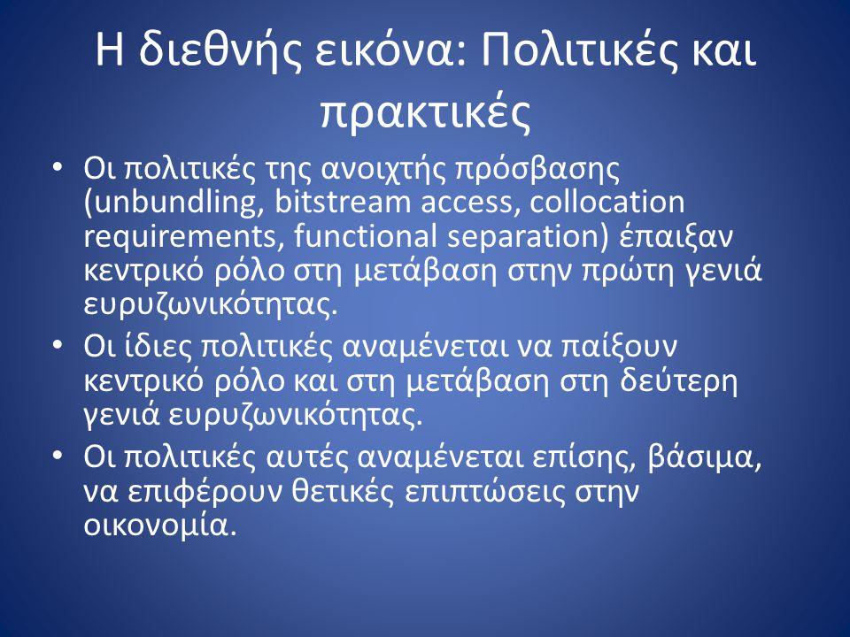 Η διεθνής εικόνα: Πολιτικές και πρακτικές Οι πολιτικές της ανοιχτής πρόσβασης (unbundling, bitstream access, collocation requirements, functional sepa