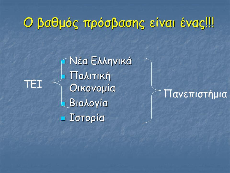 Ο βαθμός πρόσβασης είναι ένας!!! Νέα Ελληνικά Νέα Ελληνικά Πολιτική Οικονομία Πολιτική Οικονομία Βιολογία Βιολογία Ιστορία Ιστορία Πανεπιστήμια ΤΕΙ