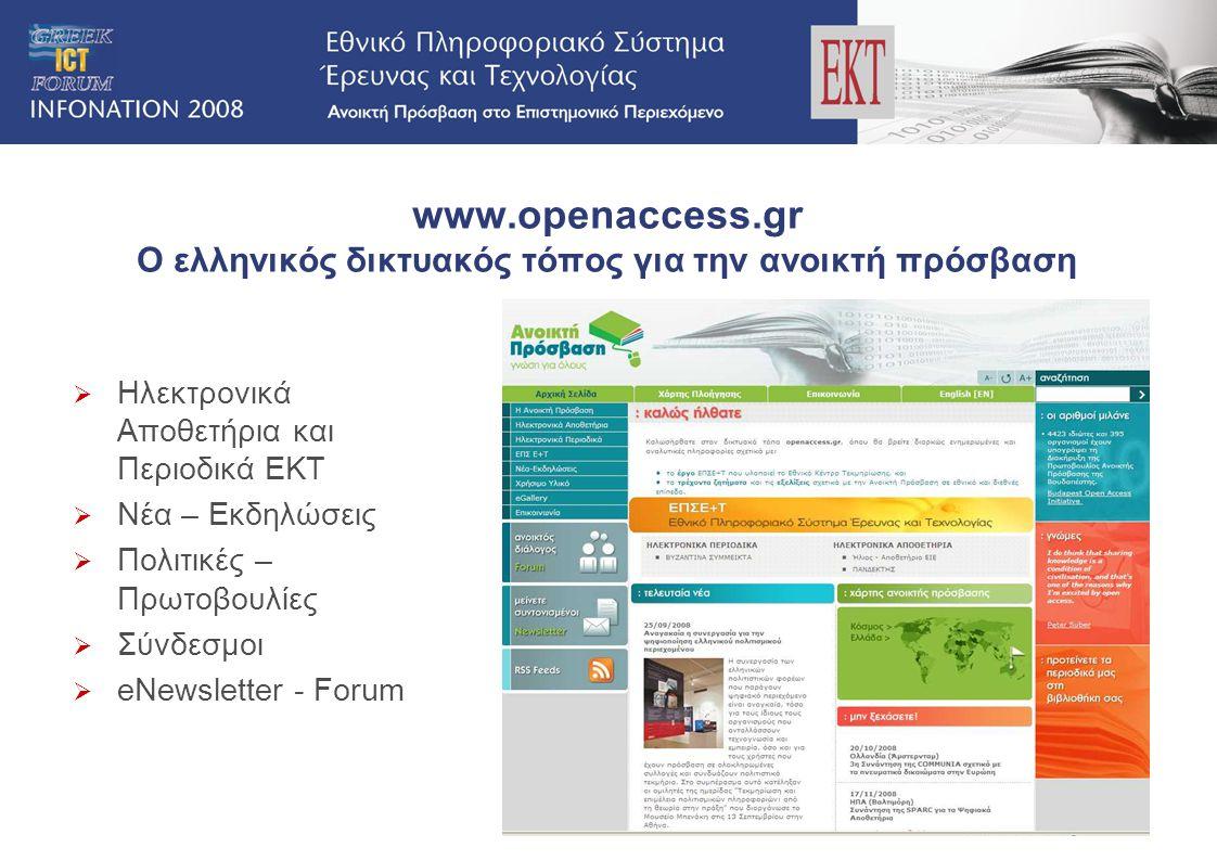 www.openaccess.gr Ο ελληνικός δικτυακός τόπος για την ανοικτή πρόσβαση  Ηλεκτρονικά Aποθετήρια και Περιοδικά ΕΚΤ  Νέα – Εκδηλώσεις  Πολιτικές – Πρω