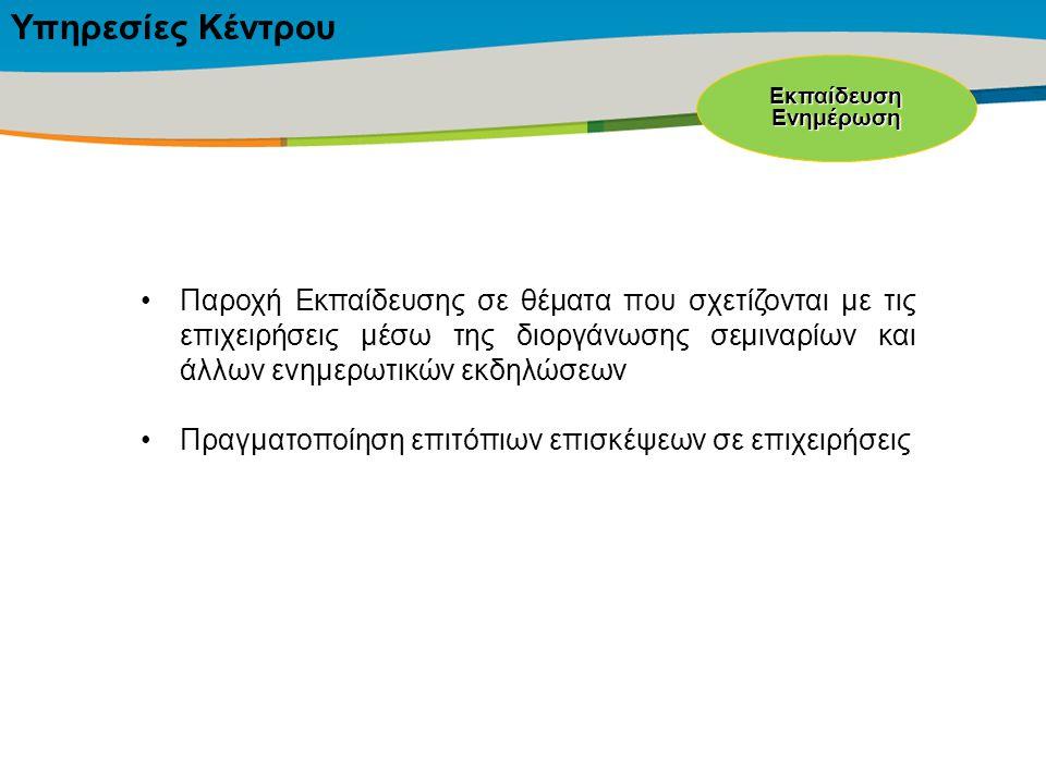 Title of the presentation | Date |‹#› Παροχή Εκπαίδευσης σε θέματα που σχετίζονται με τις επιχειρήσεις μέσω της διοργάνωσης σεμιναρίων και άλλων ενημερωτικών εκδηλώσεων Πραγματοποίηση επιτόπιων επισκέψεων σε επιχειρήσεις ΕκπαίδευσηΕνημέρωση Υπηρεσίες Κέντρου