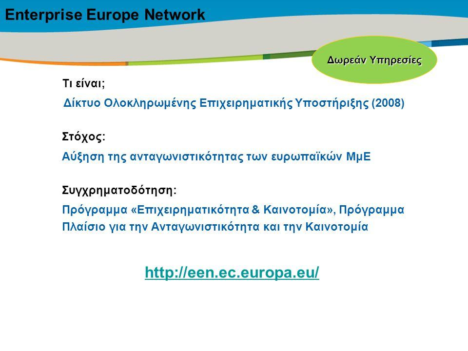 Title of the presentation | Date |‹#› Τι είναι; Δίκτυο Ολοκληρωμένης Επιχειρηματικής Υποστήριξης (2008) Στόχος: Αύξηση της ανταγωνιστικότητας των ευρωπαϊκών ΜμΕ Συγχρηματοδότηση: Πρόγραμμα «Επιχειρηματικότητα & Καινοτομία», Πρόγραμμα Πλαίσιο για την Ανταγωνιστικότητα και την Καινοτομία Δωρεάν Υπηρεσίες Enterprise Europe Network http://een.ec.europa.eu/