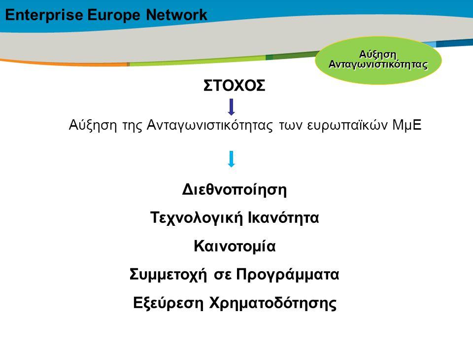 Title of the presentation | Date |‹#› Αύξηση της Ανταγωνιστικότητας των ευρωπαϊκών ΜμΕ ΣΤΟΧΟΣ Διεθνοποίηση Τεχνολογική Ικανότητα Καινοτομία Συμμετοχή σε Προγράμματα Εξεύρεση Χρηματοδότησης Enterprise Europe ΝetworkΑύξησηΑνταγωνιστικότητας