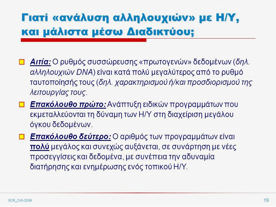 GCR_Oct-2006 19 Γιατί «ανάλυση αλληλουχιών» με Η/Υ, και μάλιστα μέσω Διαδικτύου; Αιτία: Ο ρυθμός συσσώρευσης «πρωτογενών» δεδομένων (δηλ.
