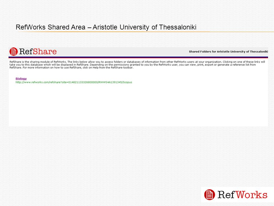 RefWorks Shared Area – Aristotle University of Thessaloniki