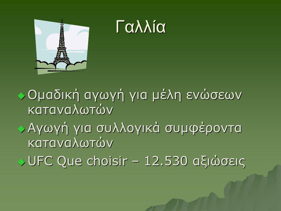 Γαλλία  Ομαδική αγωγή για μέλη ενώσεων καταναλωτών  Αγωγή για συλλογικά συμφέροντα καταναλωτών  UFC Que choisir – 12.530 αξιώσεις