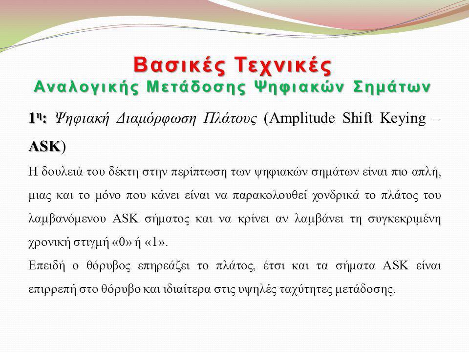 Βασικές Τεχνικές Αναλογικής Μετάδοσης Ψηφιακών Σημάτων 1 η : ASK 1 η : Ψηφιακή Διαμόρφωση Πλάτους (Amplitude Shift Keying – ASK) Η δουλειά του δέκτη σ