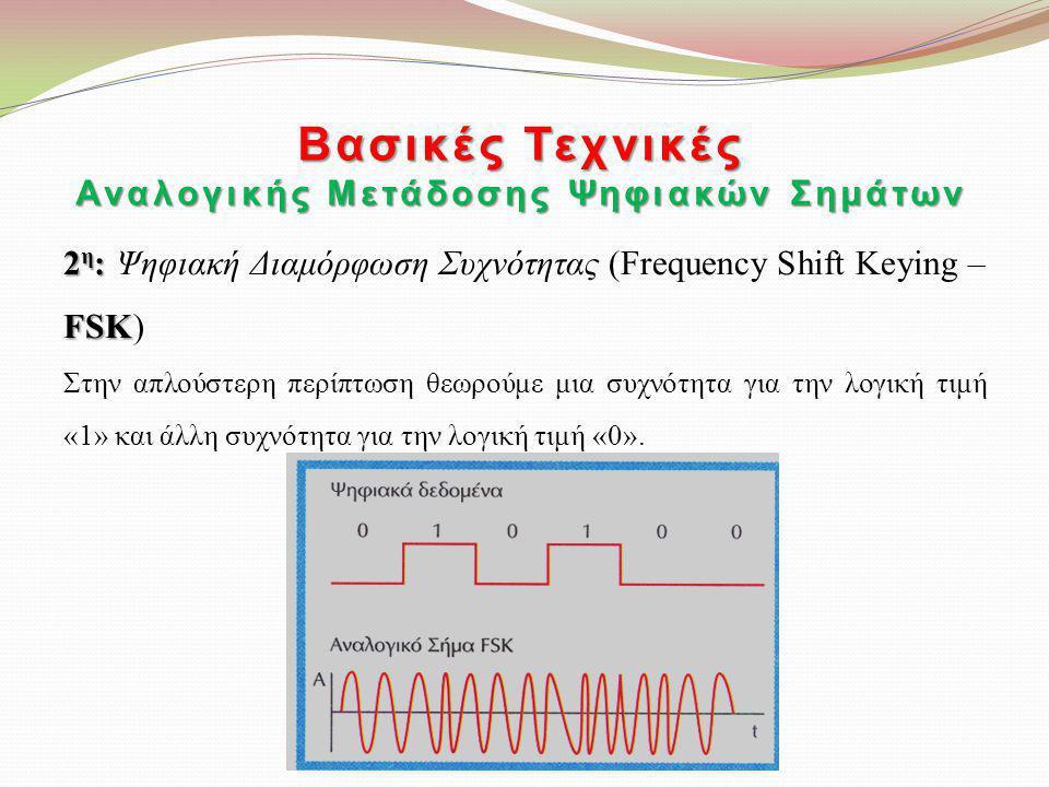2 η : FSK 2 η : Ψηφιακή Διαμόρφωση Συχνότητας (Frequency Shift Keying – FSK) Στην απλούστερη περίπτωση θεωρούμε μια συχνότητα για την λογική τιμή «1»