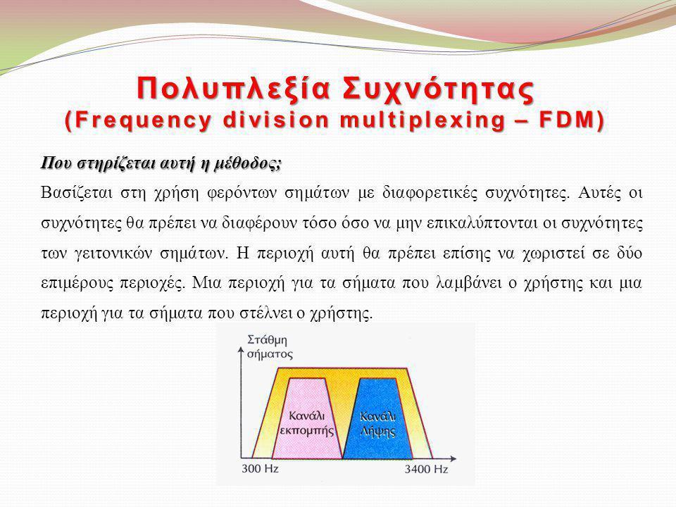 Πολυπλεξία Συχνότητας (Frequency division multiplexing – FDM) Που στηρίζεται αυτή η μέθοδος; Βασίζεται στη χρήση φερόντων σημάτων με διαφορετικές συχν
