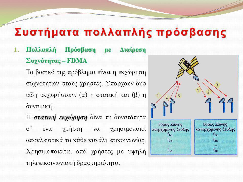 Συστήματα πολλαπλής πρόσβασης 1. Πολλαπλή Πρόσβαση με Διαίρεση Συχνότητας – FDMA Το βασικό της πρόβλημα είναι η εκχώρηση συχνοτήτων στους χρήστες. Υπά