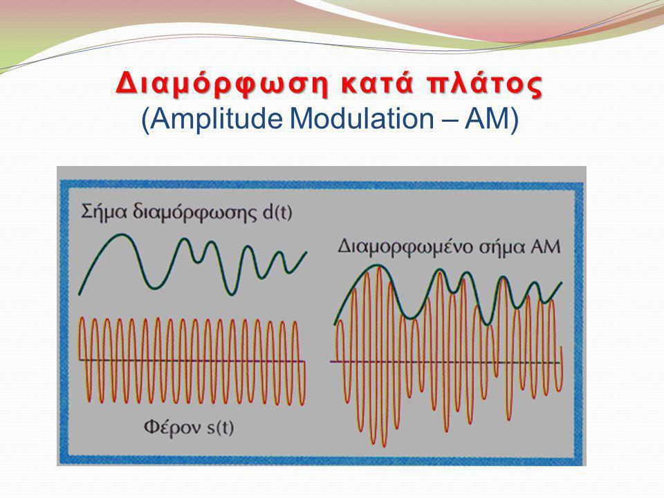Πεδίο συχνοτήτων Αποτελείται από την κεντρική συχνότητα (f c ) και τις συχνότητες του σήματος πληροφορίας μετατοπισμένες σε δύο πλευρικές περιοχές συχνοτήτων γύρω από τον κεντρική συχνότητα f c (f c -f m & f c +f m ).