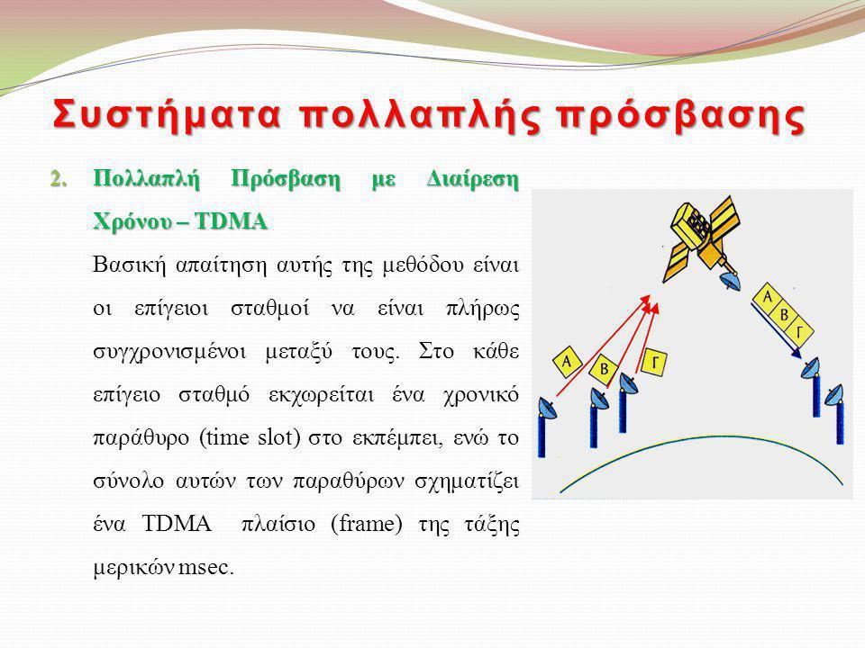 Συστήματα πολλαπλής πρόσβασης 2. Πολλαπλή Πρόσβαση με Διαίρεση Χρόνου – TDMA Βασική απαίτηση αυτής της μεθόδου είναι οι επίγειοι σταθμοί να είναι πλήρ