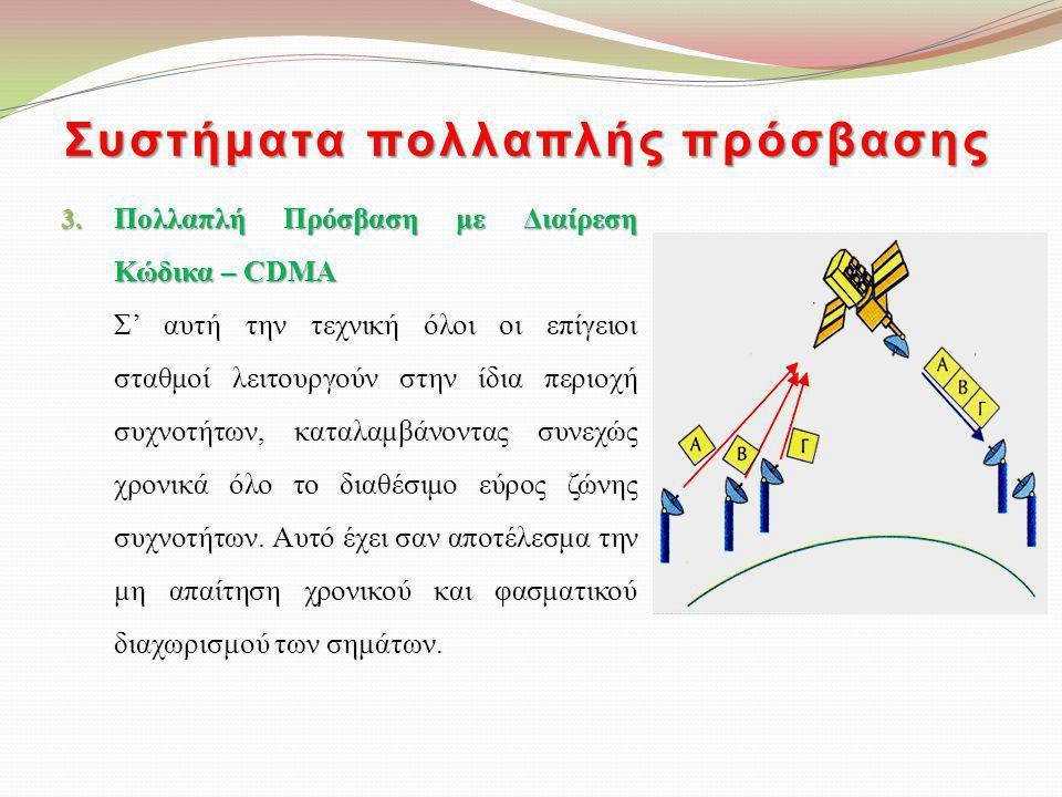 Συστήματα πολλαπλής πρόσβασης 3. Πολλαπλή Πρόσβαση με Διαίρεση Κώδικα – CDMA Σ' αυτή την τεχνική όλοι οι επίγειοι σταθμοί λειτουργούν στην ίδια περιοχ